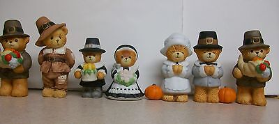 Enesco Lucy & Me Thanksgiving Day Pilgrim Boy Girl Bears Figure Set Figurine Lot