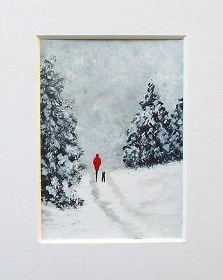 Original December Snow 2# Ooak Landscape Miniature Aceo Painting
