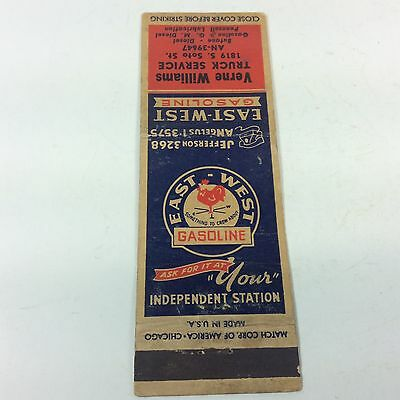 Vintage East West Gasoline Match Book Gas & Oil Advertising Sign Can