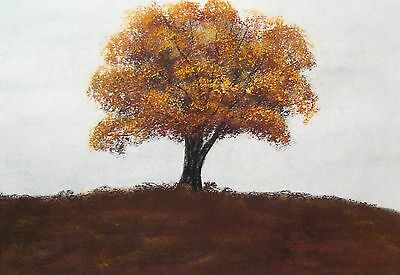Original Autumn Tree Landscape Watercolour/pastel Painting
