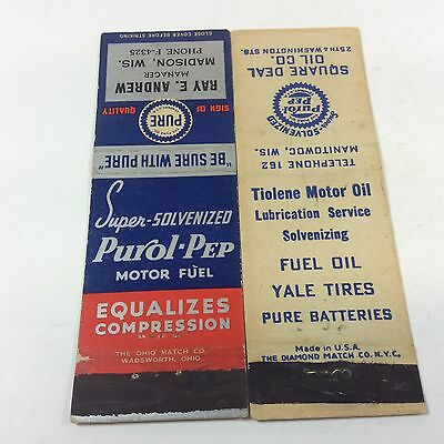 2 Vintage Pure Purol-Pep Match Book Gas & Oil Advertising Sign Can
