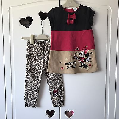 Baby Girls Disney Minnie Mouse Summer Set Outfit Dress & Leggings 18-24 Months