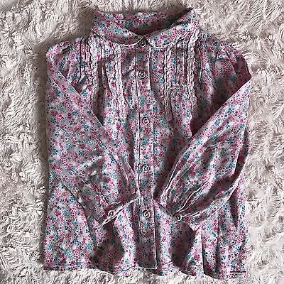 Baby Girls NEXT Beautiful Pink Floral Shirt Blouse Long Sleeve Top 12-18 Mths