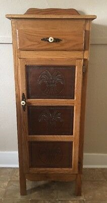 Amish Pie Safe Wheat Copper Insert One Drawer Three Shelves