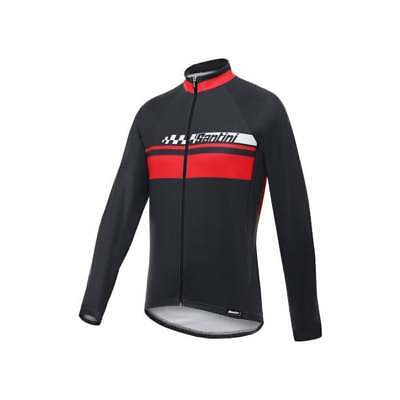 Santini Pilot Thermofleece Long Sleeve Mens Cycle Cycling Jersey - Red