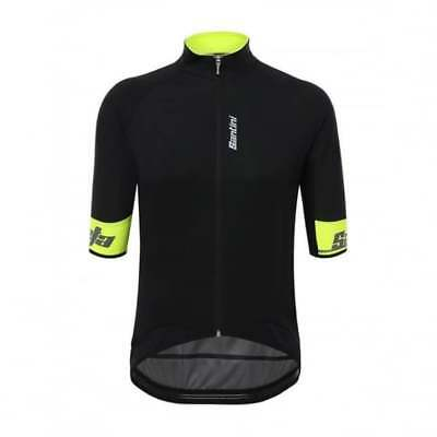 Santini Beta 2.0 Short Sleeve Wind Mens Cycle Cycling Jersey - Black/ Hi Viz