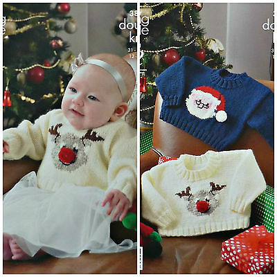 Xmas KNITTING PATTERN Baby Rudolph & Father Christmas Jumpers DK King Cole 3804