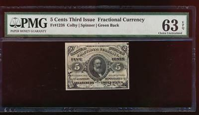 AC Fr 1238 $0.05 fractional Third Issue PMG 63 EPQ as made ink green back