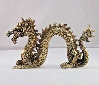 "Chinese Dragon Figure Statue Gold Resin 6.75"" Long x 4"" Tall"