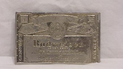 Nice Vintage Old Budweiser Beer Silver Colored Metal Belt Buckle
