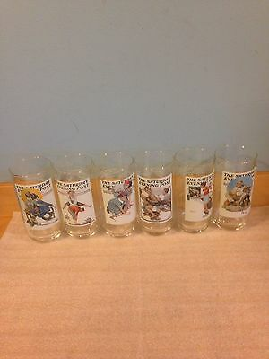 1987 Saturday Evening Post Arbys Collectible Glasses Set of 6 Norman Rockwell *