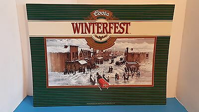 "Vintage 1989 Coors Beer Winterfest ""Celebration of the Season"" Advertising Sign"