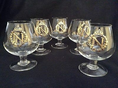 Napoleon Crystal Brandy Glasses Gold N Wreath & Crest Insignia