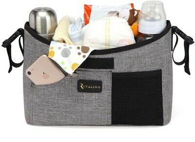 Baby Stroller Organiser - Universal Pram Buggy Storage Bag With Two Deep Cup