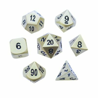 Pearl Gold Set of 7 Solid Polyhedral Metal Dice (RPG, D&D)