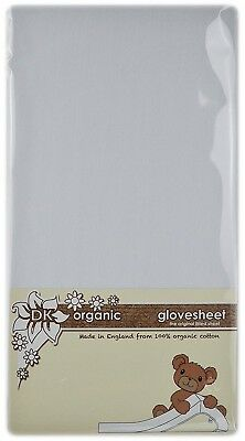 DK Glovesheets 100% Organic Cotton Fitted Large Travel Cot Sheet (White,