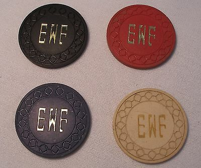 Collectible Private Club Poker Chips $1, $5 & $100 Chip-Initials EWF+Bonus Chip