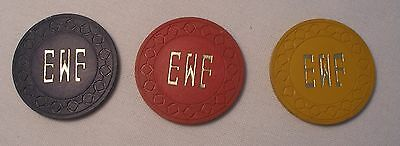 Collectible Private Club Poker Chips Ca  $1, $5 & $25  Chip-Initials EWF