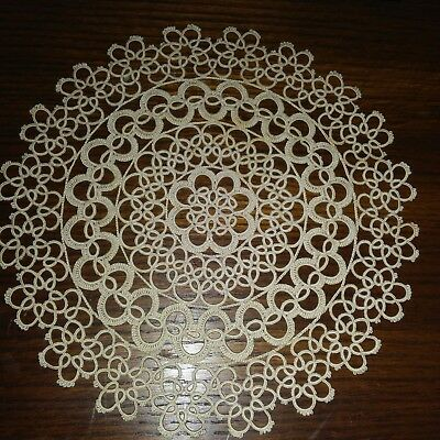 """Fully Tatted Doily Antique 10"""" Round Ornate Cotton Intricate Amazing Workmanship"""