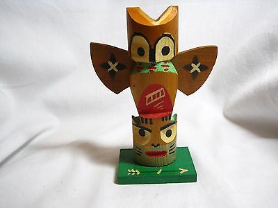 Wooden American Indian-made Carved Totem Figure Souvenir - Hand-Painted