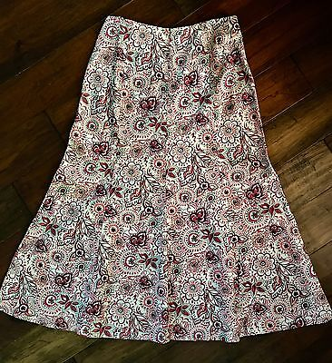 Christopher Banks Linen Blend Flared Long Maxi Skirt Cream Pink Floral Size 8