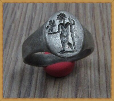 ** MINERVA with VICTORIA ** Ancient Silver  Roman Ring **AMAZING**