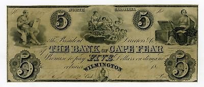 1800's $5 The Bank of Cape Fear - Wilmington, NORTH CAROLINA Note