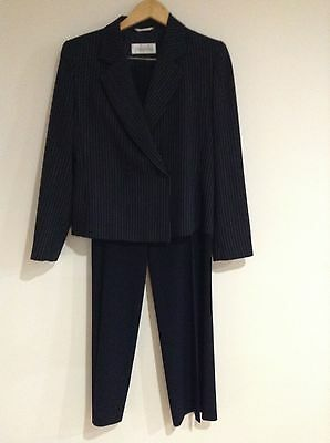Max Mara Dotted Pinstripe Pant Suit 2 Piece Black Lightweight Jacket 8 Pants 6
