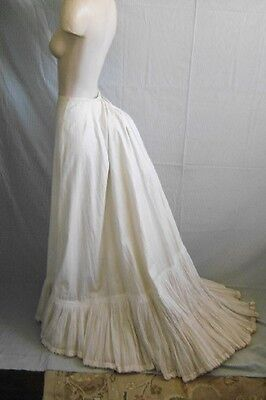 Antique 1900's Victorian Ivory Heavy Cotton Trained Petticoat 24 Inch Waist
