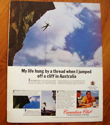1964 Canadian Club Whiskey Ad  Jumping Cliff Australia