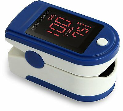 Fingertip Pulse Oximeter - Blue With Silicone Cover , Batteries& Lanyard