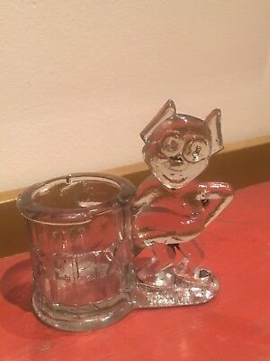 Antique Felix By The Barrel Candy Container Glass