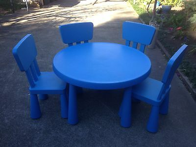 IKEA Kids Blue Plastic Table + 4 Chairs