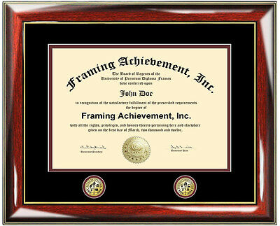 DOUBLE DOCUMENT PLAQUE Diploma Frame Two Logo College University ...