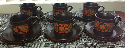 Vintage/Retro Tea/Coffee Set of 6 Trios Staffordshire Potteries Ironstone