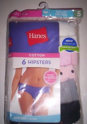 New 6 Pack Women's Size 5  Hanes Cotton Hipsters Panties Multicolor