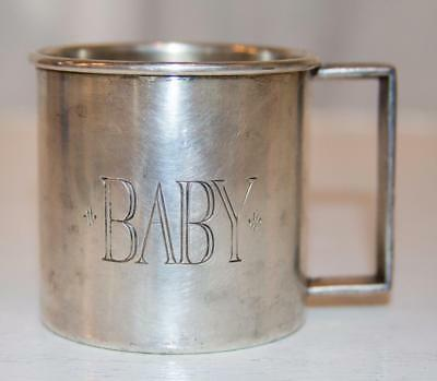 "Vintage Rogers Brothers 2.5"" Engraved Baby Cup Mug Silver Plate 1881 Series"
