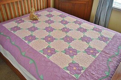 Antique Hand Stitched Floral Applique Quilt with Vining Borders *