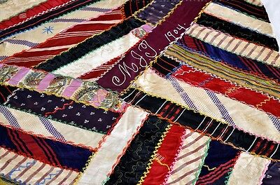 Large Antique Crazy Work Quilt Block Signed and Dated 1904 *