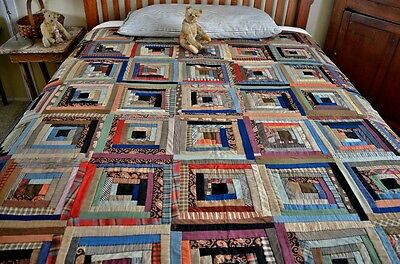 Antique Hand Stitched Wool and Silk Log Cabin Quilt *