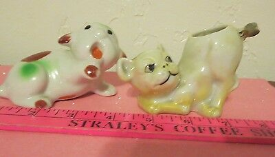 ANTIQUE PITBULL LOT OF 2 1940's BONZO DOG FIGURINES ONE PIN CUSHION FLY ON TAIL