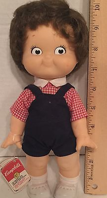 Campbell Soup Kid Doll 1988 Special Edition Collector Gingham shirt Overalls*328