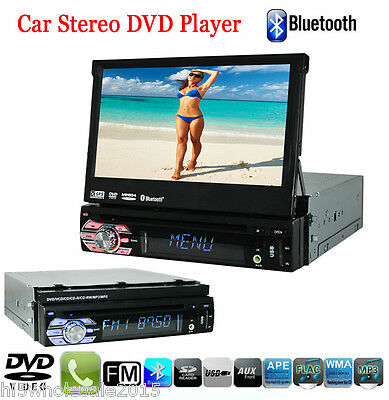 "Single 1 Din7"" In Dash Car Stereo Audio Retractable GPS Nav Car DVD Player BT FM"