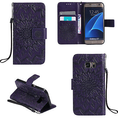 For Samsung Galaxy S6 Purple Sun Flower Pattern Strap Leather Wallet Case Cover
