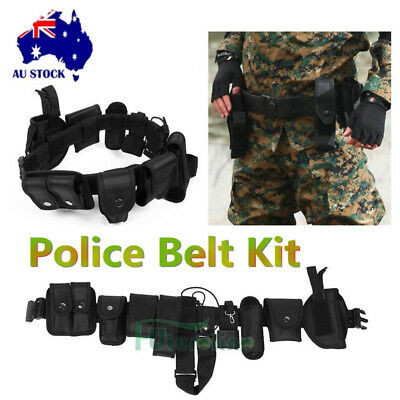 Tactical Police Guard Belt Buckles With 9 Pouches Utility Kit Security System AU