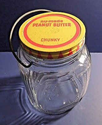 Vintage 2 Pound Jumbo Peanut Butter Jar with Handle Nu-Made Chunky Peanut Butter