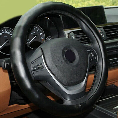 "Genuine Leather Steering Wheel Cover for Car SUV Truck Medium 14.5""-15.5"" Black"