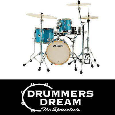 """Brand New SONOR SSE MARTINI Drum KIT 4Piece  14"""",8"""",13""""  12SN Turquoise Sparkle"""