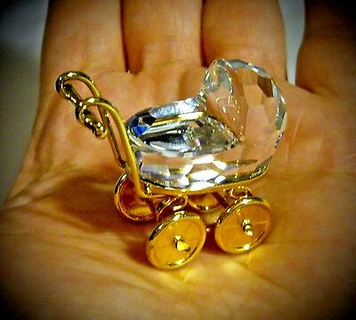 Authentic Swarovski Crystal Baby Carriage Collectable Stroller Figurine
