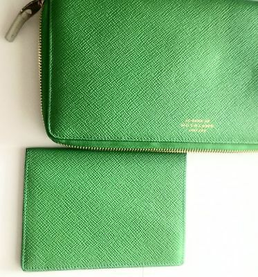 Smythson - 2 Piece Green Leather Clutch With Passport/board' Pass Separate Item